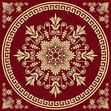 vector set traditional vintage golden square and round greek