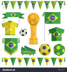 Green White And Yellow Flag Set Brazil Themed Soccer Objects Bunting Stock Vector 199338473