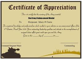 sample text for certificate of appreciation 20 professional army certificate of appreciation templates