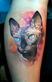 realism style colored leg tattoo of sphinx cat tattooimages biz