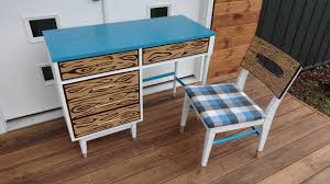 funky midcentury desk makeover 60s cartoon style youtube
