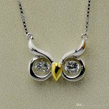 silver necklace with stone images Wholesale 925 sterling silver jewelry owl necklace with twinkle jpg