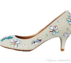 wedding shoes glasgow handcraft kitten heel wedding shoes ivory pearl banquet prom party
