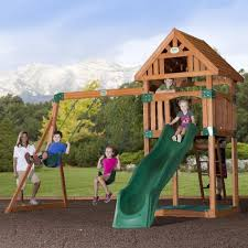 exterior wood swing sets with playset and sliding toy set plus