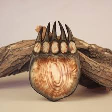 wood sculpture handmade animal paw fruit plate dried fruit