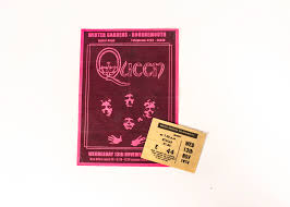 queen flyer and ticket stub for the winter gardens bournemouth