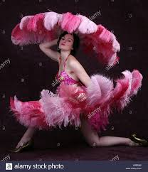 feather fans burlesque performer with pink ostrich feather fans stock photo