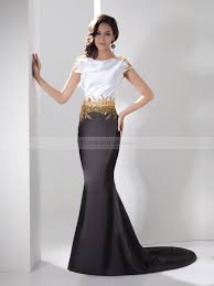 evening gowns two toned bateau elastic satin evening dress with beaded waist