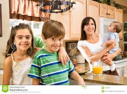family in kitchen stock image image 4246231