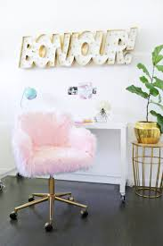 Beautiful Desk Pink Fur Desk Chair Best Home Furniture Decoration