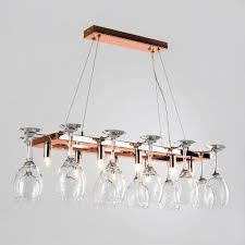 kitchen ceiling lights copper chandelier wine glass hanging over
