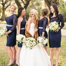 navy blue bridesmaids dresses one shoulder navy blue lace bridesmaid dress with