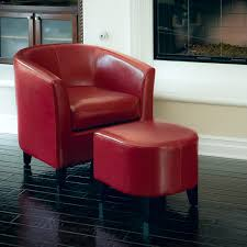 Astoria Red Leather Club Chair  Ottoman Set Modern Living - Chairs with ottomans for living room