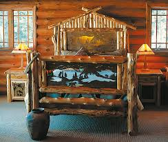 cool cottage rustic bedroom design ideas log beam wall and