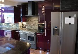 purple kitchen ideas cozy purple kitchen design with hanging l and refrigerator