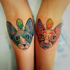 two sphynx cats matching tattoos on arms best tattoo ideas gallery