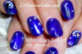 diy easy dandelion nail art elegant navy blue nails tutorial