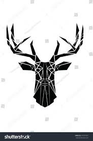 moose head geometric lines silhouette isolated stock vector