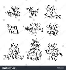 vector happy thanksgiving day lettering collection stock vector