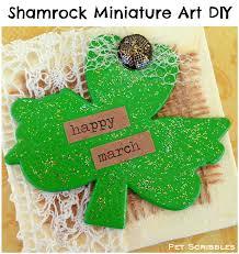 st patrick u0027s day craft shamrock miniature art canvas pet scribbles