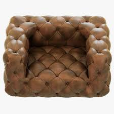 Soho Armchair Restoration Hardware Soho Tufted Leather Chair 3d Model Max Obj