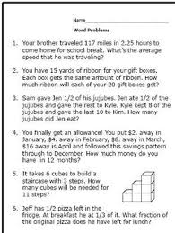 what are some word problems to give to 6th grade math students
