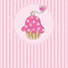 Cute Pink Pictures by Cupcake With Pink Cream And Strawberry Dessert Label Vector