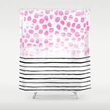 Pink Black And White Shower Curtain Abstract Black White And Painting Shower Curtains Society6