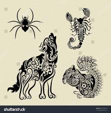 vintage animals floral ornament symbol decorative stock vector