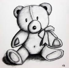 speed drawing teddy bear charcoal canvas