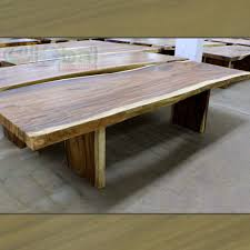 120 u2033 l dining table solid acacia slab free form metal plated
