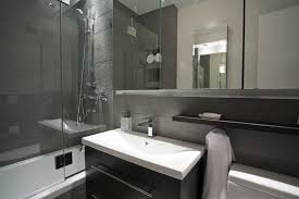 modern charcoal bathroom with glass wall and sink darwin