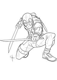 marvel superhero deadpool coloring pages womanmate com