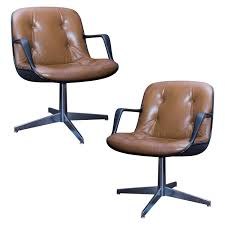 Executive Brown Leather Office Chairs Pair Of Charles Pollock Style Steelcase Brown Leather Executive