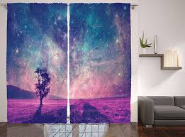 amazon com modern curtains galaxy and lonely tree decor by