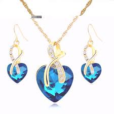 pendant necklace earrings images African style crystal heart pendant necklace earrings set jpg