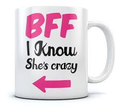 bff i know she u0027s crazy funny coffee mug matching best friends cup