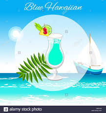 blue hawaiian cocktail vector cartoon style on the seaside stock