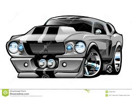 Classic American Muscle Cars - classic american muscle car cartoon illustration stock vector