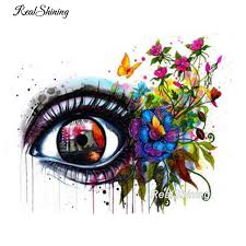 realshining butterfly eye square painting