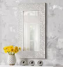 amazon com textured relief 36 u0026quot high silver wall mirror home