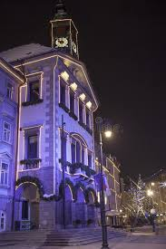 colorful ljubljana city center during december holidays stock photo