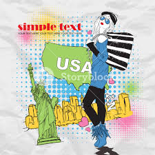 fashion with bag in sketch style on a usa background vector