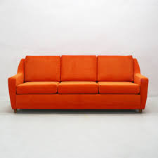 canap lounge canapé lounge trois places en cuir orange 1970s en vente sur pamono
