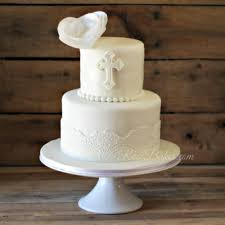 white lace christening cake with wafer paper flower rose bakes
