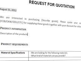 Business Letter Format For Request Request For Quotation Trading Business Template Templates At
