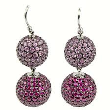 pink drop earrings ruby pink sapphire pavé gold drop earrings for sale at 1stdibs