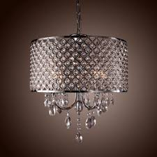 Small Chandeliers For Bedroom Drum Crystal Chandelier Modern 4 Lights Shade Pendant Lamp Living
