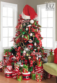 red and white christmas tree christmas lights decoration