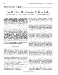 two decoding algorithms for tailbiting codes pdf download available